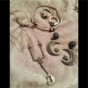 Vintage SS Marcasite Moon & Stars Jewelry Lot